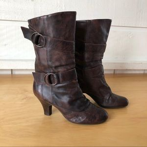 Aldo Brown Leather Double Strap Boots